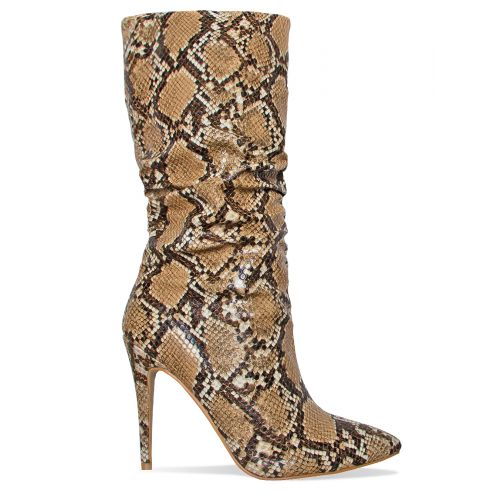 Tavia Beige Snake Ruched Calf Boots