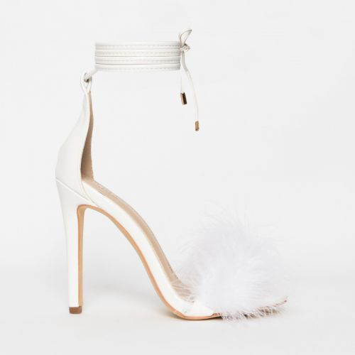 Tamaya White Fluffy Lace Up Heels