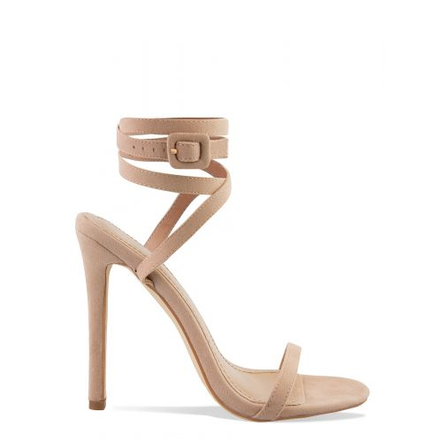 Talia Nude Suede Lace Up Stiletto Heels