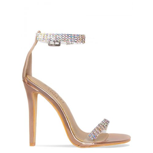 Tala Rose Gold Clear Diamante Heels
