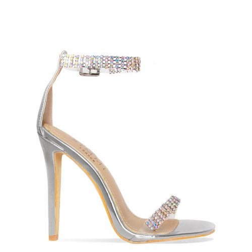 Tala Silver Clear Diamante Heels