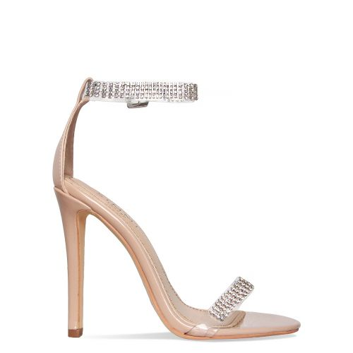 Tala Nude Patent Clear Diamante Heels