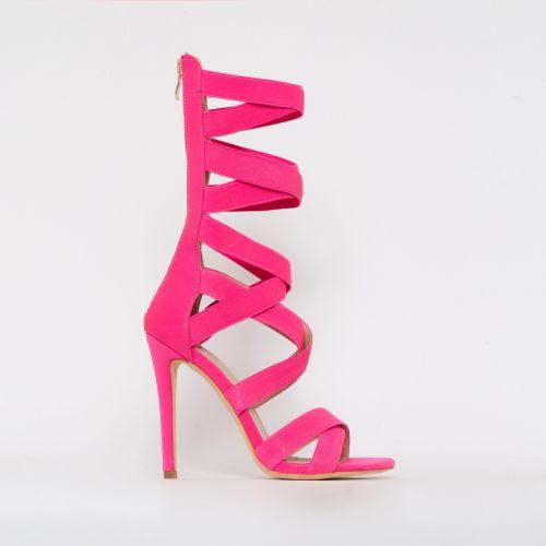 Astrid Neon Pink Strappy Stiletto Heels