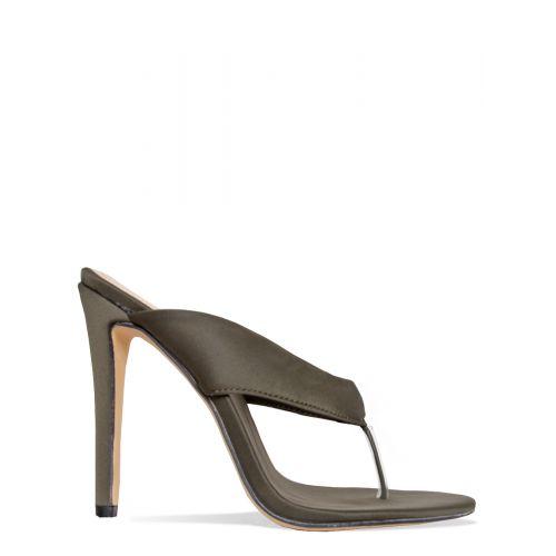 Kaya Khaki Flip Flop Stiletto Mules