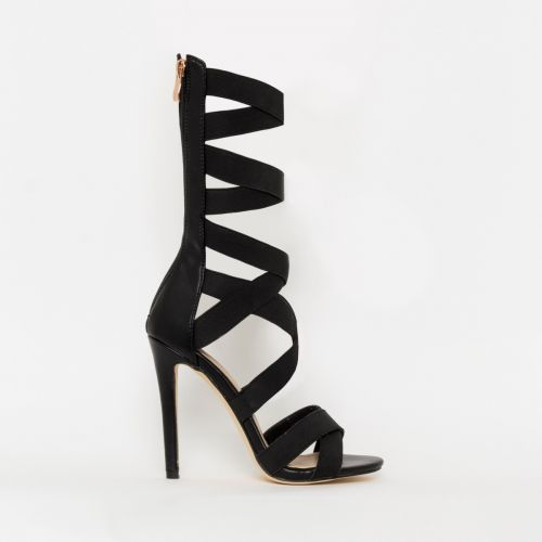 Astrid Black Strappy Stiletto Heels