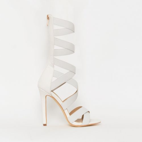 Astrid White Strappy Stiletto Heels