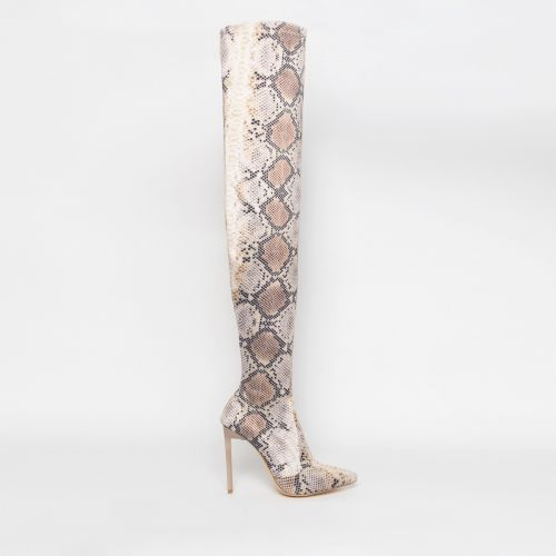 Kiana Beige Python Lycra Stiletto Thigh High Boots