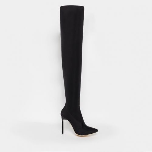 Kiana Black Lycra Stiletto Thigh High Boots