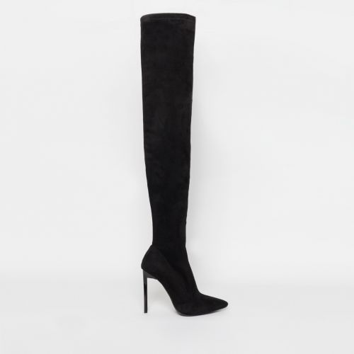 Kiana Black Suede Stiletto Thigh High Boots