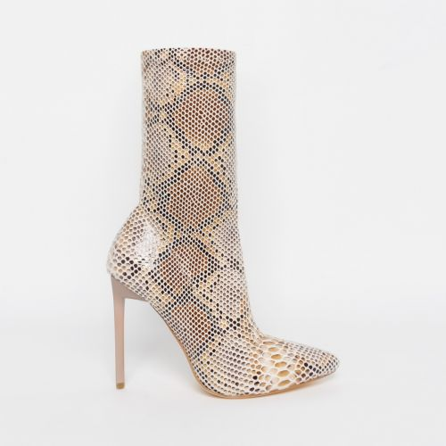 Lucinda Beige Python Lycra Stiletto Ankle Boots
