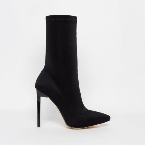 Lucinda Black Lycra Stiletto Ankle Boots