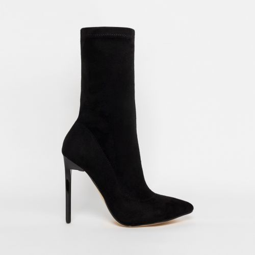 Lucinda Black Suede Stiletto Ankle Boots