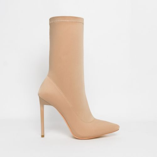 Lucinda Nude Lycra Stiletto Ankle Boots