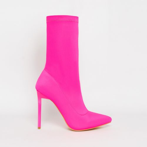 Lucinda Neon Pink Lycra Stiletto Ankle Boots