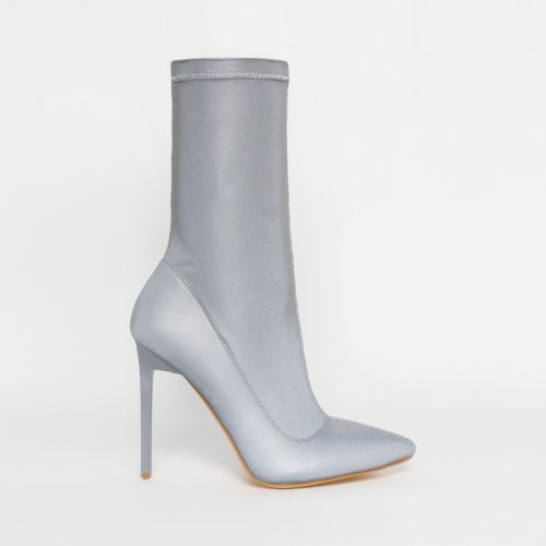 Lucinda Grey Reflective Stiletto Ankle Boots