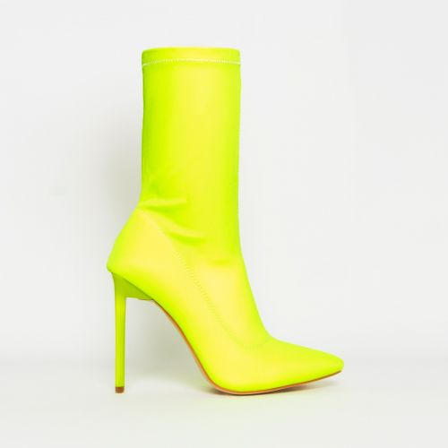 Lucinda Neon Yellow Lycra Stiletto Ankle Boots