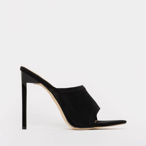 Tiana Black Lycra Stiletto Mules