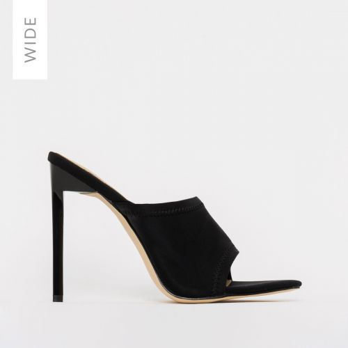 Tiana Wide Fit Black Lycra Stiletto Mules