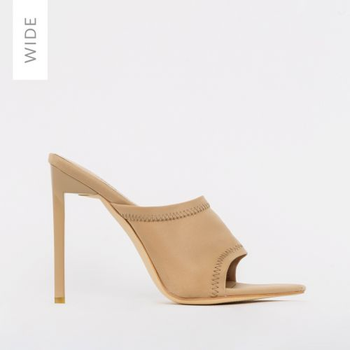Tiana Wide Fit Nude Lycra Stiletto Mules