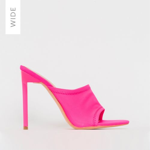 Tiana Wide Fit Neon Pink Lycra Stiletto Mules
