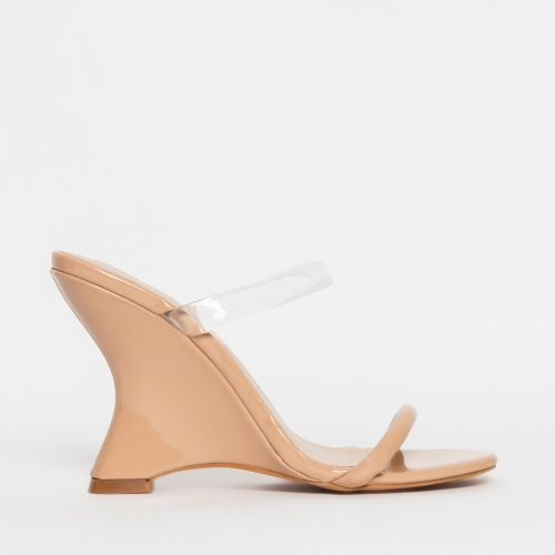 Tina Clear Nude Patent Wedge Mules