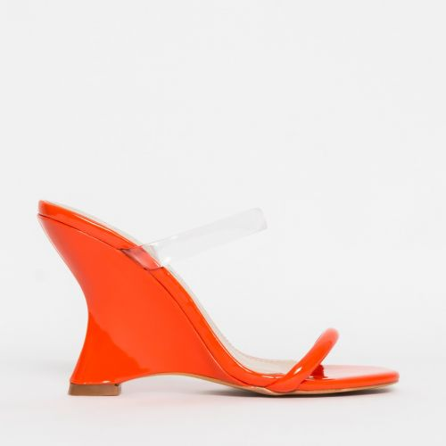 Tina Clear Orange Patent Wedge Mules