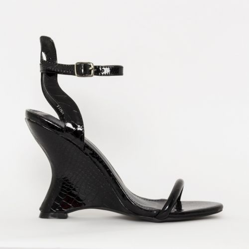 Thea Black Patent Python Wedges
