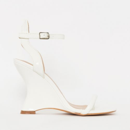 Thea White Patent Wedges