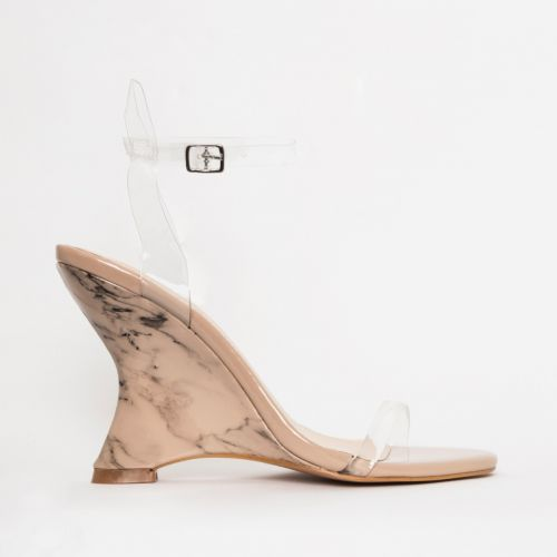 Tania Clear Nude Marble Wedge Heels