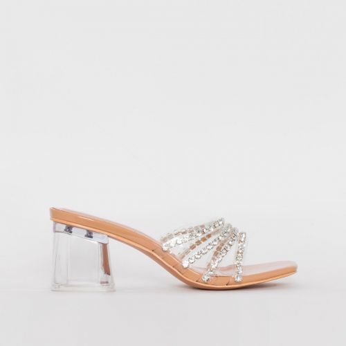 Rennie Nude Patent Diamante Clear Mid Heel Mules