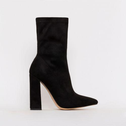 Gwen Black Suede Block Heel Ankle Boots