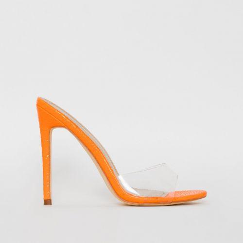 Jules Orange Patent Snake Print Clear Stiletto Mules
