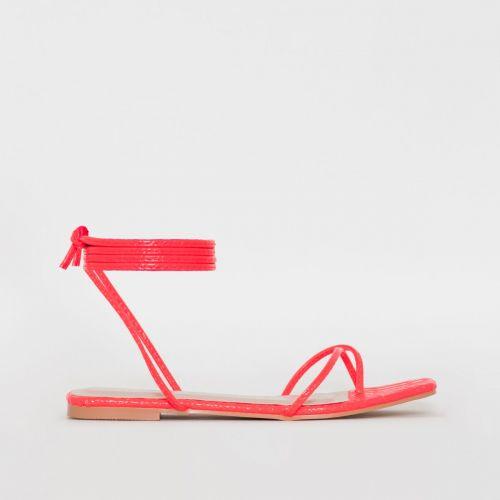 Daryl Pink Patent Python Print Sandals