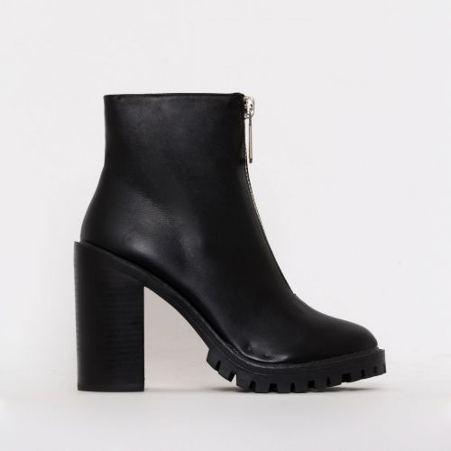 Gigi Black Zip Block Heel Ankle Boots