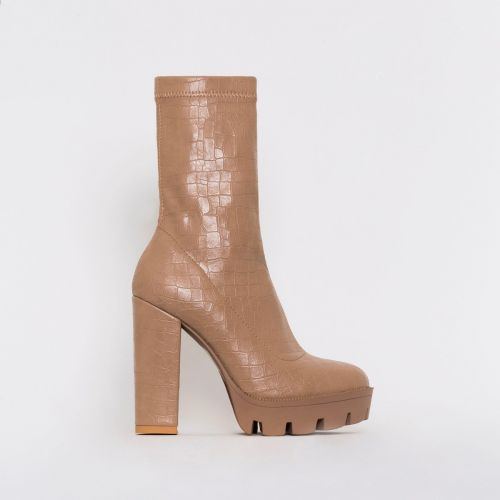 True Nude Croc Print Platform Ankle Boots