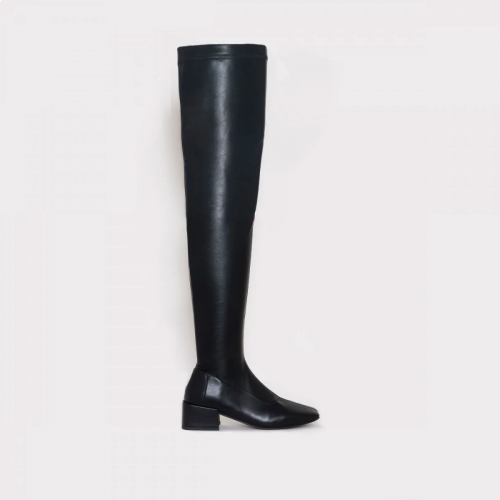 Henrietta Black Flat Thigh High Boots