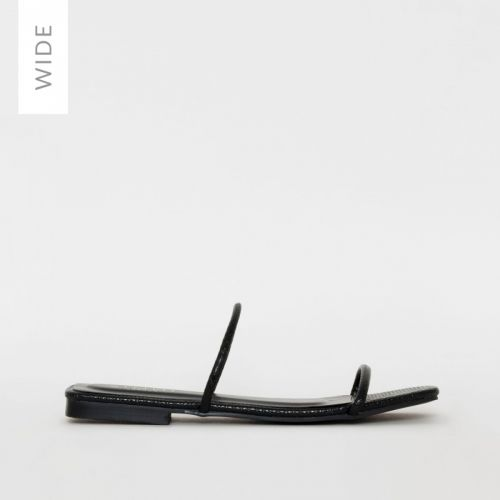 Riviera Wide Fit Black Snake Print Sliders