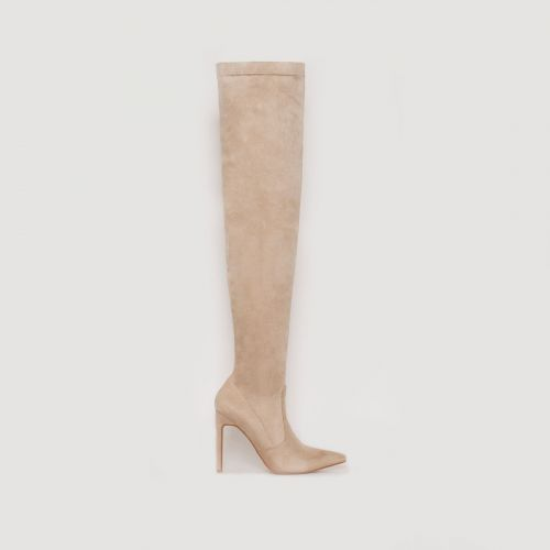 Saffy Nude Suede Thigh High Boots