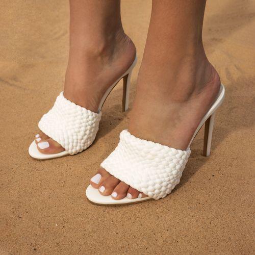 SONIA X FYZA Vacay White Woven Stiletto Mules