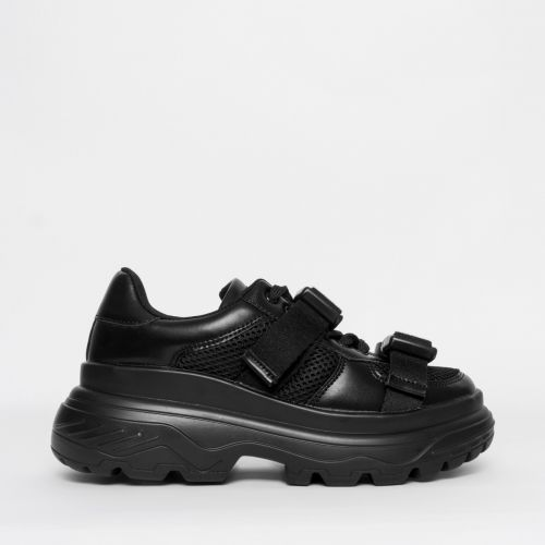 Valetta Black Buckle Chunky Sneakers