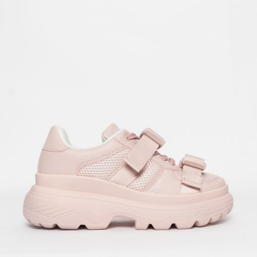 Valetta Pink Buckle Chunky Sneakers