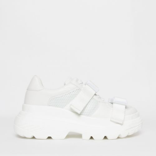Valetta White Buckle Chunky Sneakers
