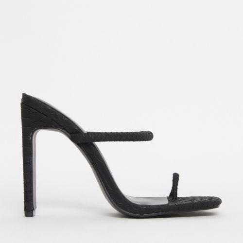 Cyan Black Snake Toe Loop Slim Block Heels