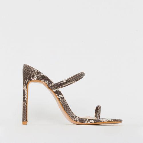 Cyan Beige Snake Print Toe Loop Slim Block Heels