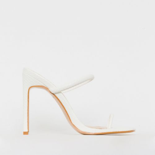 Cyan White Snake Print Toe Loop Slim Block Heels