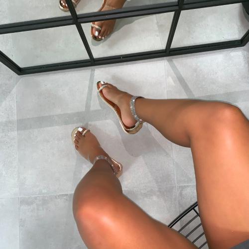 Liana Rose Gold Clear Diamante Cuff Sandals