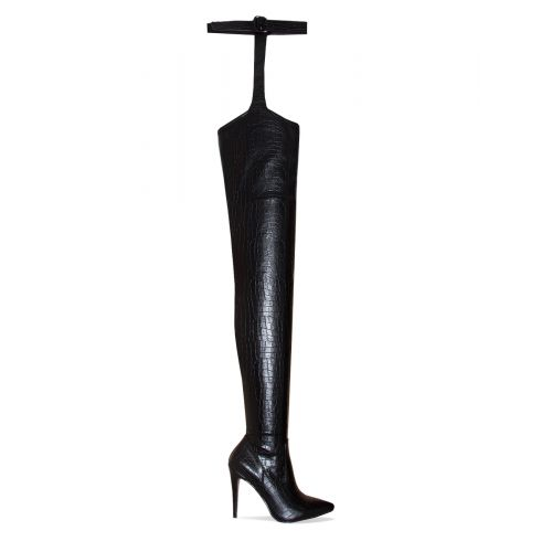 Vicki Black Croc Belt Thigh High Boots