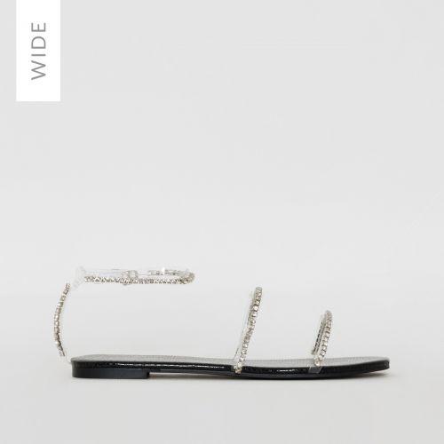 Louisa Wide Fit Black Faux Snake Print Diamante Sandals