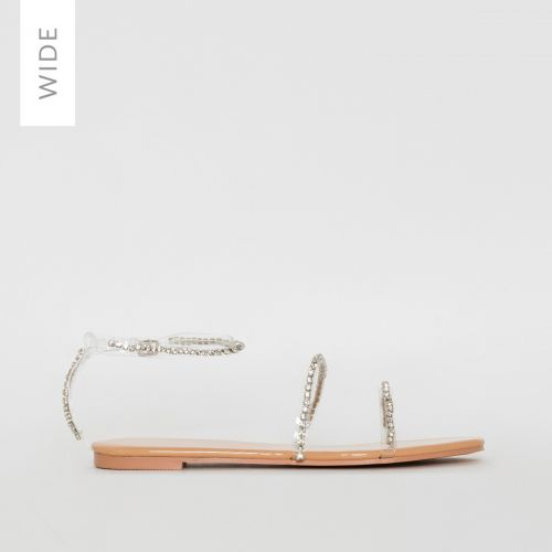 Louisa Wide Fit Nude Patent Clear Diamante Sandals