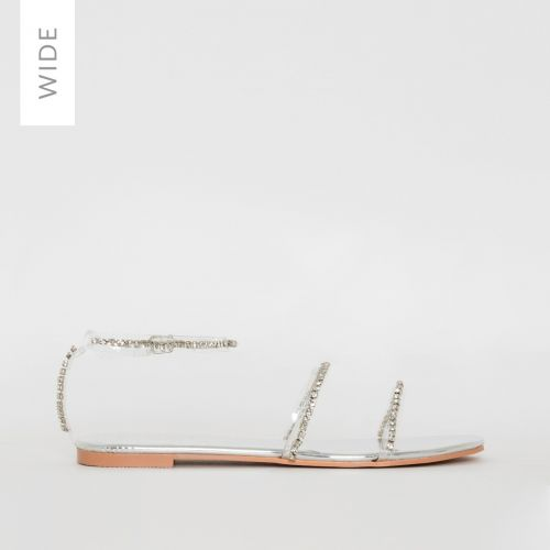 Louisa Wide Fit Silver Clear Diamante Sandals
